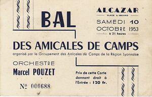 Billet-entree-au-Bal-des-Amicales-de-Camps-ALCAZAR-LYON-1953