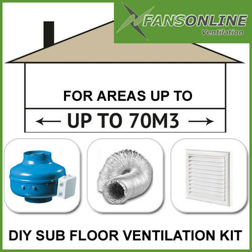 DIY Sub Floor Ventilation Kit #3 For area up to 70m3 Prevent Underfloor Damp