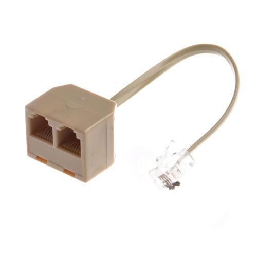 Telephone RJ11 Male Line to Double RJ11 Female Jack Filter Splitter Adapter DT