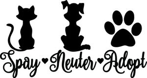 Spay-Neuter-Adopt-Decal-Window-Bumper-Sticker-Car-Dog-Cat-Pet-Rescue-Paw-Love-S