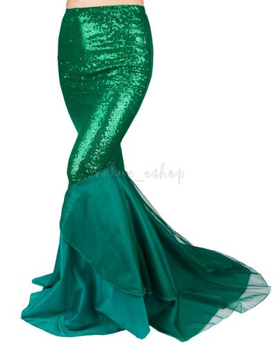 Women Ladies Sequined Mermaid Tail Skirt Party Photography Fancy Costume Dress