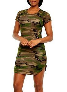 Camouflage-T-SHIRT-LONG-tee-CAMO-sides-slit-short-sleeves-mini-dress-RAYON-S-M-L