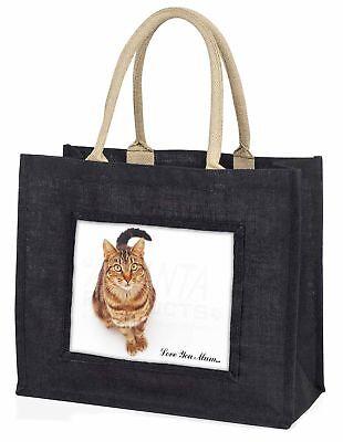 gefleckte Katze' Liebe, die sie Mama' große schwarze Einkaufstasche