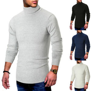 Men-039-s-Long-Sleeve-Turtleneck-Pullover-Sweater-Slim-Warm-Knitwear-Knitted-Jumper