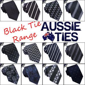 MENS-BLACK-TIE-striped-lines-stripes-white-blue-red-paisley-check-CHOOSE-DESIGN