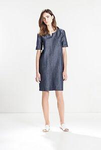 NWT-179-Designer-Country-Road-TRENERY-Woven-Linen-Indigo-DRESS-Exposed-Metal-Zip