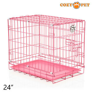Dog-Cage-24-inch-Puppy-Crate-S-Cozy-Pet-Pink-Dog-Crates-Folding-Metal-Cages