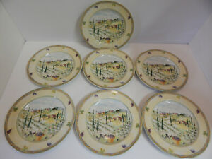 PTS-International-Tuscan-Country-Salad-Plates-Dishes-Genuine-Stoneware-Set-Of-7