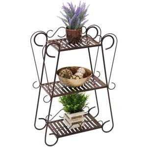 Plant-Stand-Garden-Display-Indoor-Outdoor-Metal-Flower-Rack-Shelf-Wrought-Iron