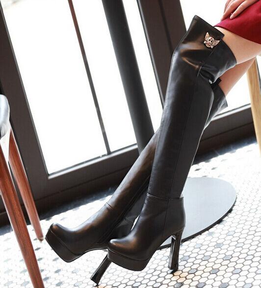 Stiefeletten stiefel schenkel frau absatz plateau 11 cm elegant komfortabel