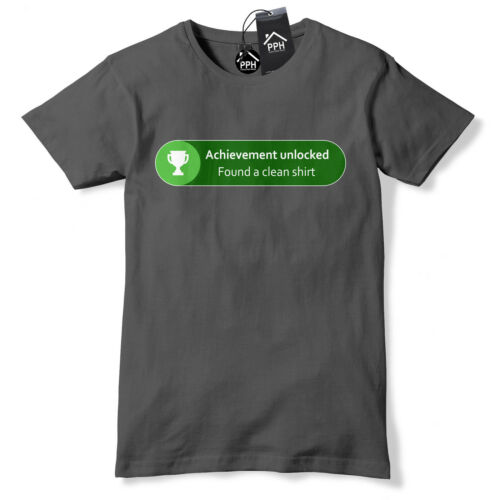 Achievement Unlocked Clean T Shirt Funny Gamer Xbox Gift Geek trophy gaming 534