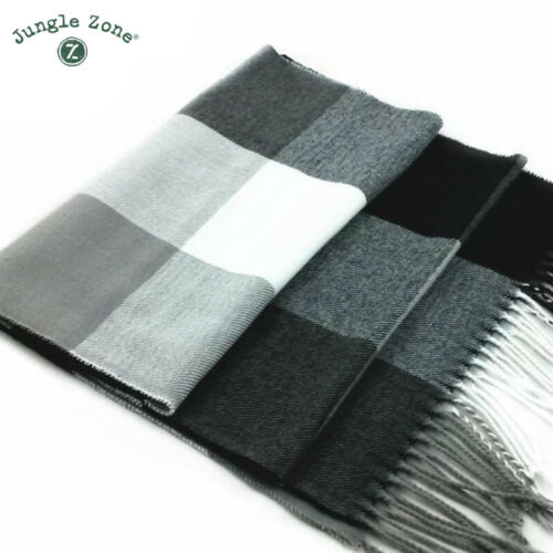Winter scarf men warm wool plaid bandana cashmere thick thermal double scarf