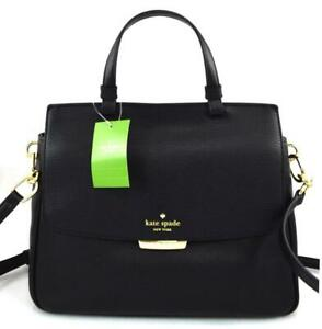 Kate-Spade-New-York-Women-039-s-Rea-Robinson-Lane-Leather-Satchel-Bag-Purse-Black