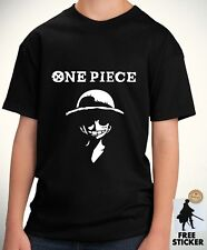 One Piece Wanted Monkey Luffy ワンピース Top T-shirt Kids Gift Girls Boys Unisex 1167
