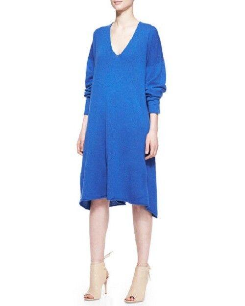 NEW Eskandar blueE Light Weight Cashmere A-line 42  Long Sweater Dress O S  2290