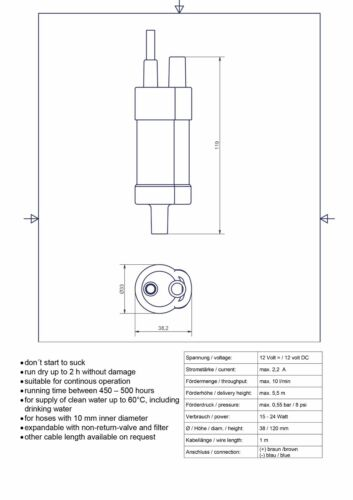 12v Submersible Fresh Water Pump for Boat//Yacht//Marine