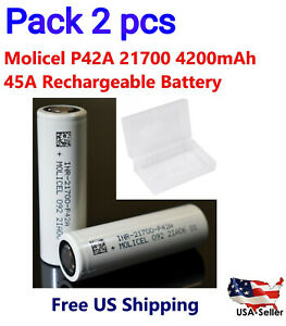 2-Molicel-INR-21700-P42A-45A-4200mAh-Rechargeable-Flat-Top-Battery-w-Free-Case