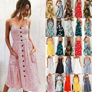 dceabadbb8 Image is loading UK-Womens-Holiday-Strappy-Button-Pocket-Ladies-Summer-