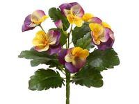 8 Pansy Bush (pack Of 12) Flower Silk Plant Bouquet Decor. Lavender Yellow