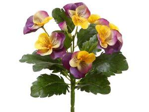 "8"" Pansy Bush (Pack of 12) Flower Silk Plant Bouquet Decor. Lavender Yellow"