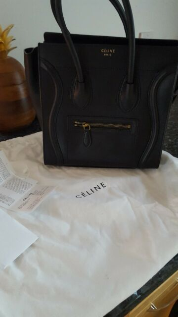 Celine Micro Luggage Tote Black Leather w  tags. Excellent condition!  Authentic 3064e6c9ce59a