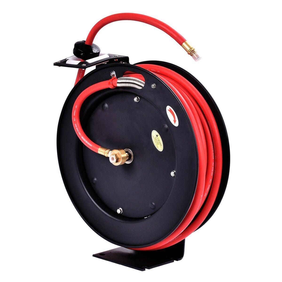3 8  x 25' Auto Rewind Retractable Air Hose Reel Compressor 300 PSI 16  x 3.1
