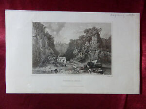 Antique-engraving-of-SHANKLIN-CHINE-ISLE-OF-WIGHT-c1830-Very-rare-art-print