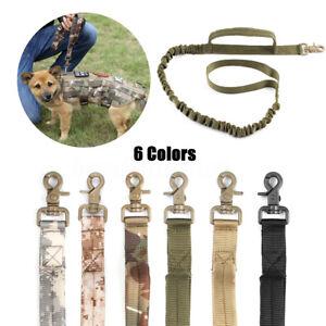 Laisse-Harnais-Chien-Tactique-Armee-Police-Militaire-Nylon-Elastique-Formation