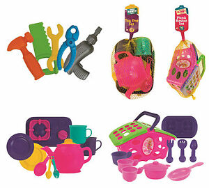 Tea-Pot-Party-and-Tool-Kit-Set-5-amp-10-Pc-Kids-Pretend-Play-Toy-Role-Play