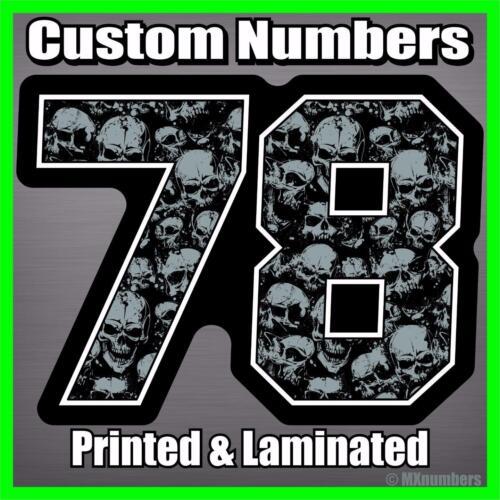 MX Number Plate Decals Skull Color *SET OF 3* Sticker MX ATV Dirt Bike Motocross