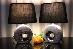 Porzellan-MEDUSA Schwarz Silber Tischlampe