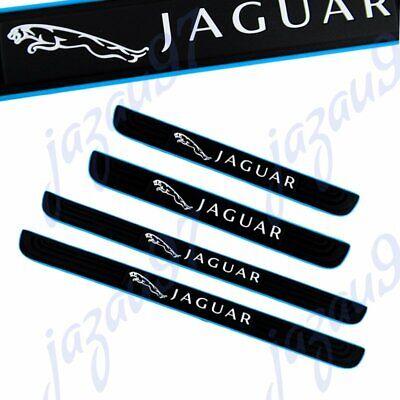 Black 4PCS Set Car Door Scuff Sill Cover Panel Step Protector Rubber For Jaguar