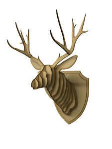 Details About Large Small Wooden Deer Head Wall Art Hanging Stag Antlers Home Decor