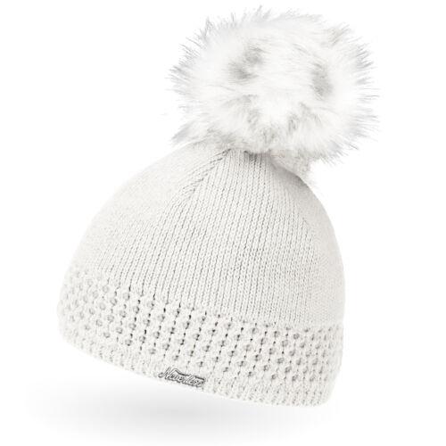 Damen Strickmütze gefüttertert Fell-Bommel Kunstfell Winter-Mütze Bommelmütze
