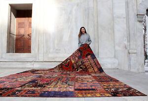 Handmade-Vintage-Kazakh-Patchwork-Decorative-Carpet-Area-Rug-11-039-6-034-x-8-039-5-034