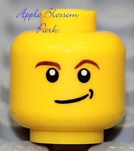 NEW Lego Boy MINIFIG HEAD w/Smile Grin - Police/Agent/C<wbr/>astle/Space/Ar<wbr/>my Soldier
