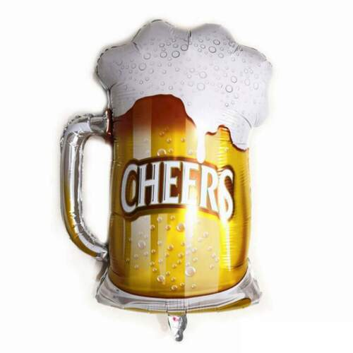 "34/"" Giant Cheers Frosty Beer Mug Shaped Foil Balloon Adult Party Decorations"