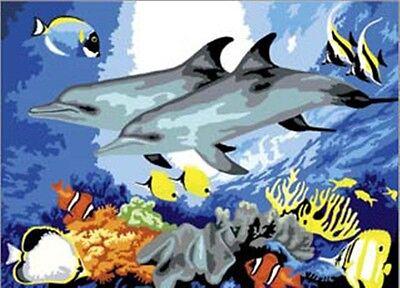 Malen nach Zahlen Delfine im Ozean  Wasser Tiermotiv Größe 39 cm x 29 cm