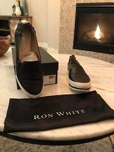 EUC-395-womens-Ron-White-black-leather-slip-on-flats-size-US-7-5-EURO-38