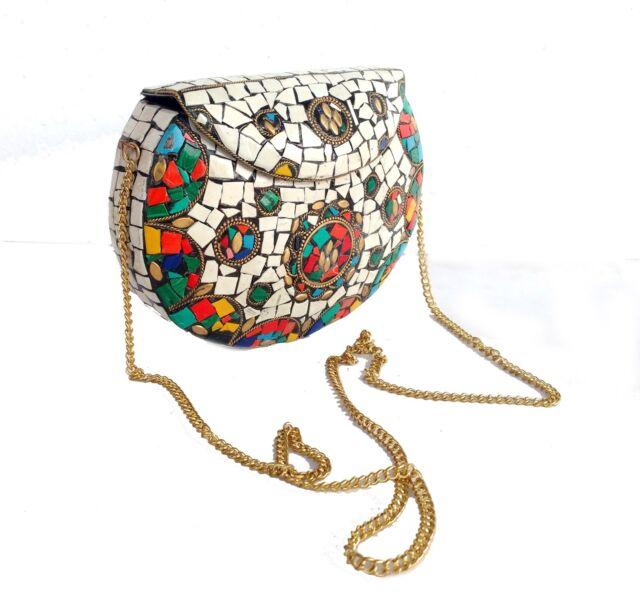 Women Clutch Wallet vintage purse Multi Color Stones Fix Unique Design Metal