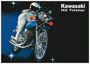 Details about KAWASAKI Poster H2 Mach IV 750cc Tri-Star 1972 Suitable to  Frame