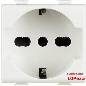 PRESA-SCHUKO-10Pezzi-Tipo-AM5440-16-BIPASSO-10-16A-Compatibile-con-serie-MATIX