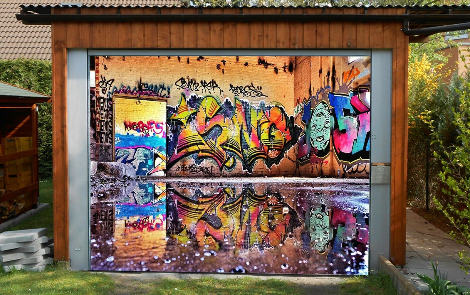 3D Water, graffiti Garage Door Murals Wall Print Decal Wall Deco AJ WALLPAPER AU