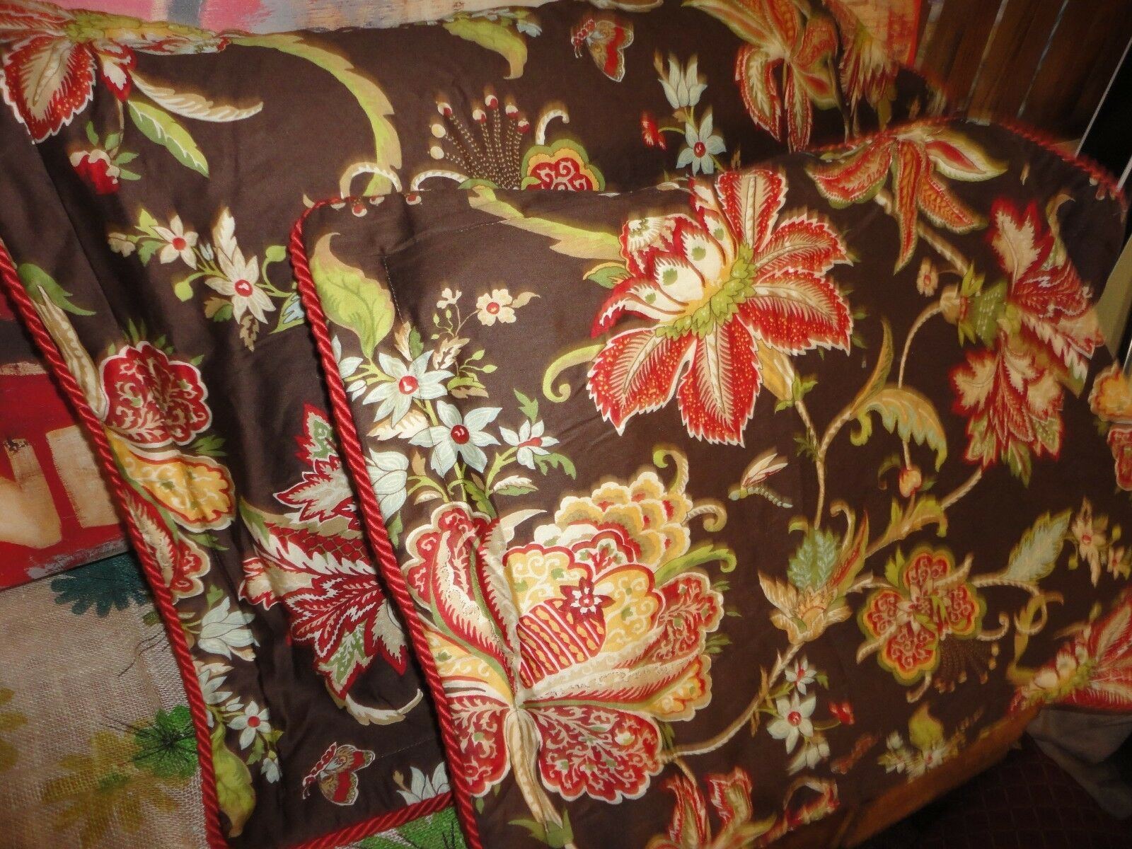 COTE COUTURE pink TREE BROWN RED FLORAL SATEEN (PAIR) KING PILLOW SHAMS 20 X 36