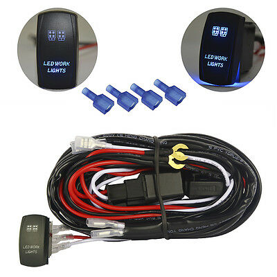 MICTUNING Wiring Harness Blue LED Work Light Bar Relay Fuse Laser Rocker on