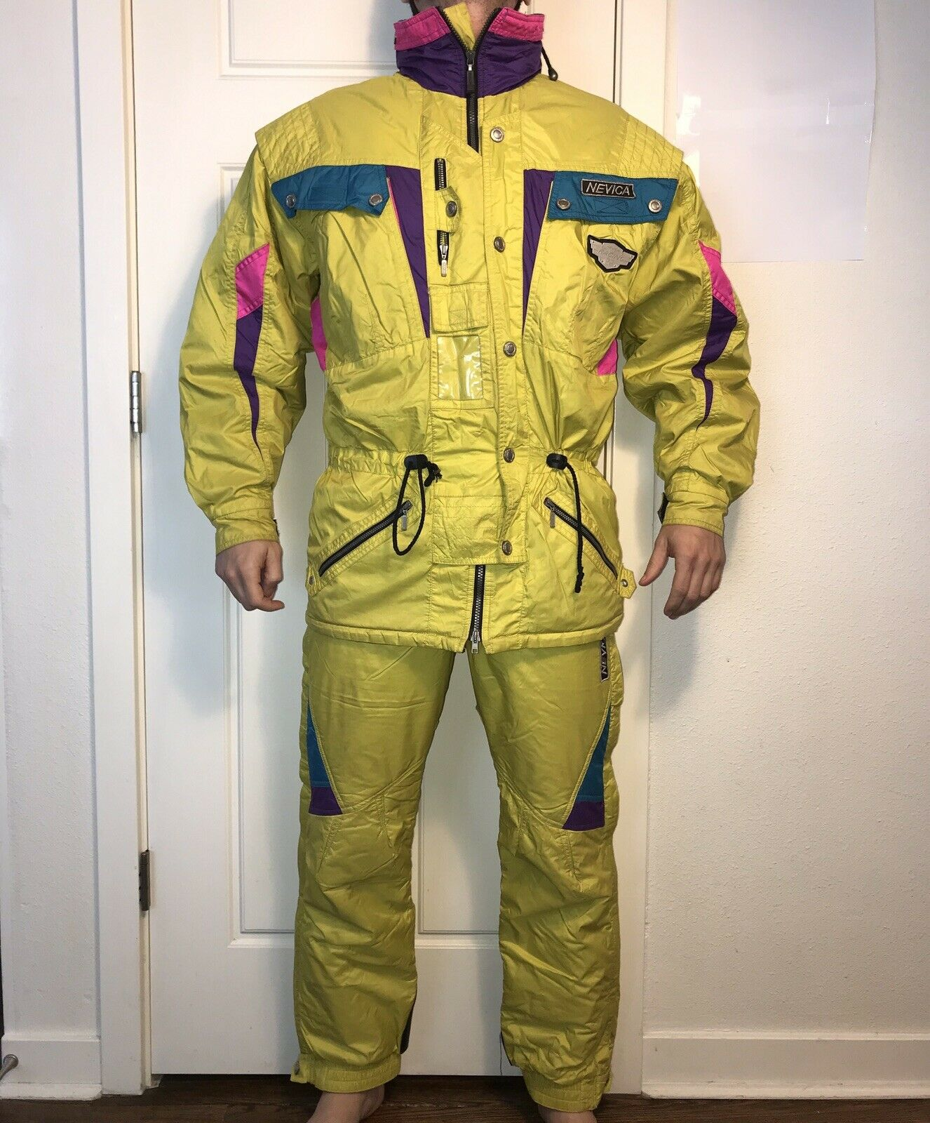 Vtg 80s 90s Yellow 2 Pc. NEVICA Mens 38 SKI SUIT Coat 30 Pants Snow Bib SNOWSUIT