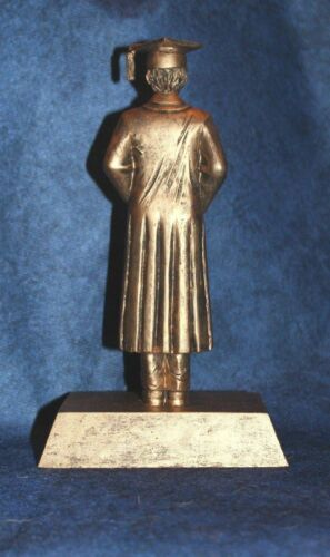 """Free Engraving!! Large 9/"""" Gold Resin Male Graduate Graduation Trophy"""
