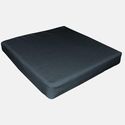 Qh18t Dark Blue Grey Linen Cotton Blend 3D Box Sofa Seat Cushion Cover Custom