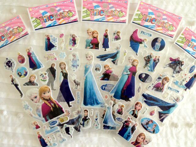 FROZEN STICKERS SHEET ANNA ELSA OLAF BIRTHDAY PARTY LOLLY BAG TREAT BOX FILLER