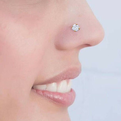 22G-10mm 9K Solide Or Jaune Jeweled Claw Set Round CZ Stone Straight Nose Stud